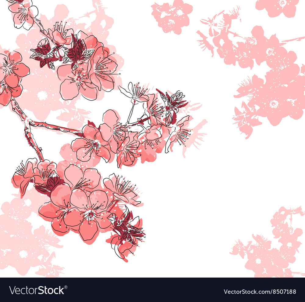 Hand drawn red floral background vector