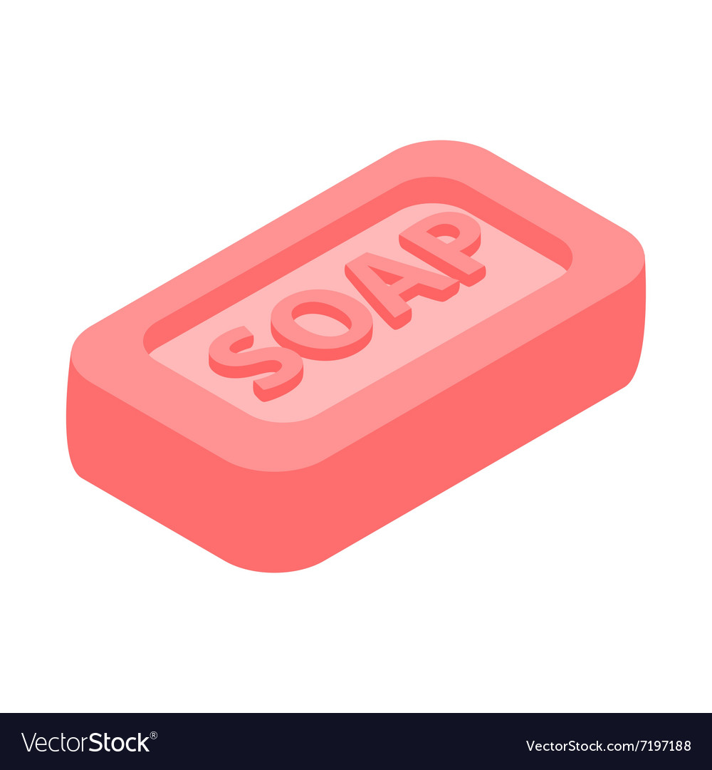Pink bar of soap 3d isometric icon vector