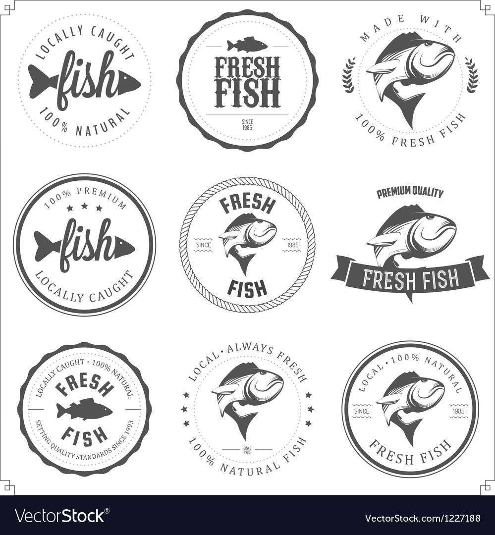 Set of made with fish stamps labels and badges vector