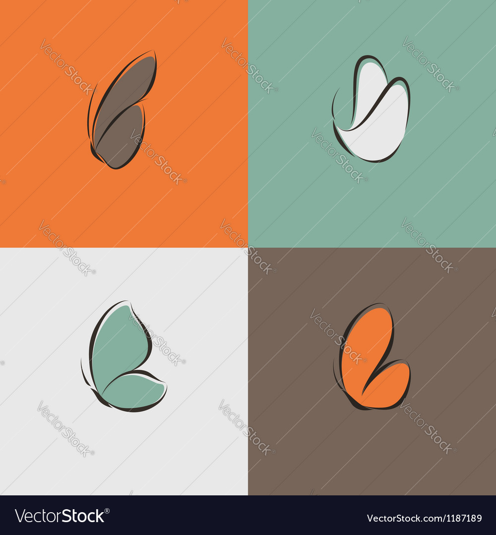 Butterfly  collection of design elements vector