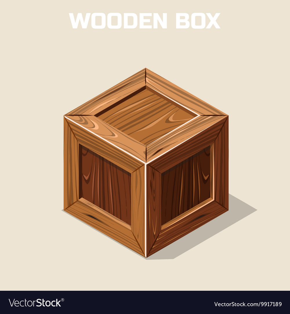Closed wooden box isometric vector