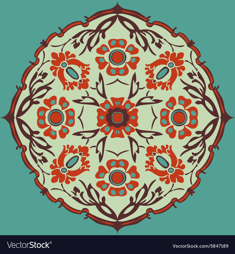 Colorful round flower abstract isolated background vector