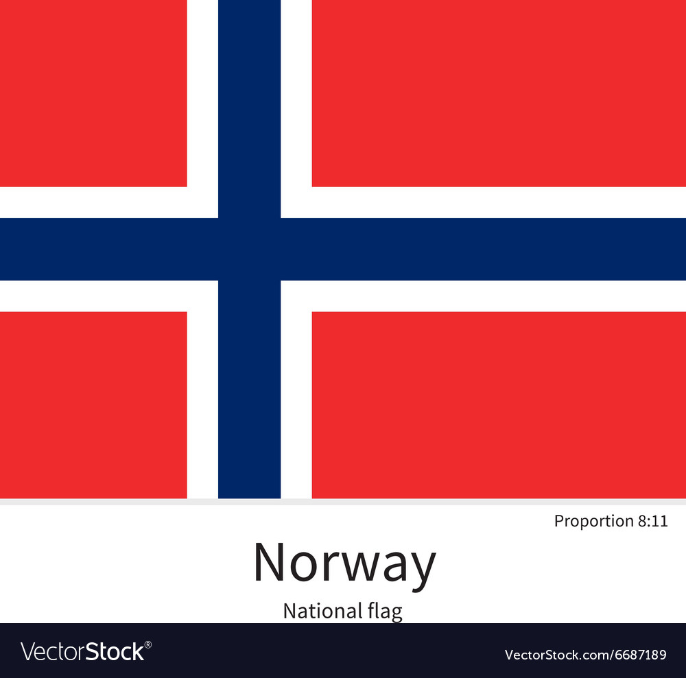 National flag of norway with correct proportions vector