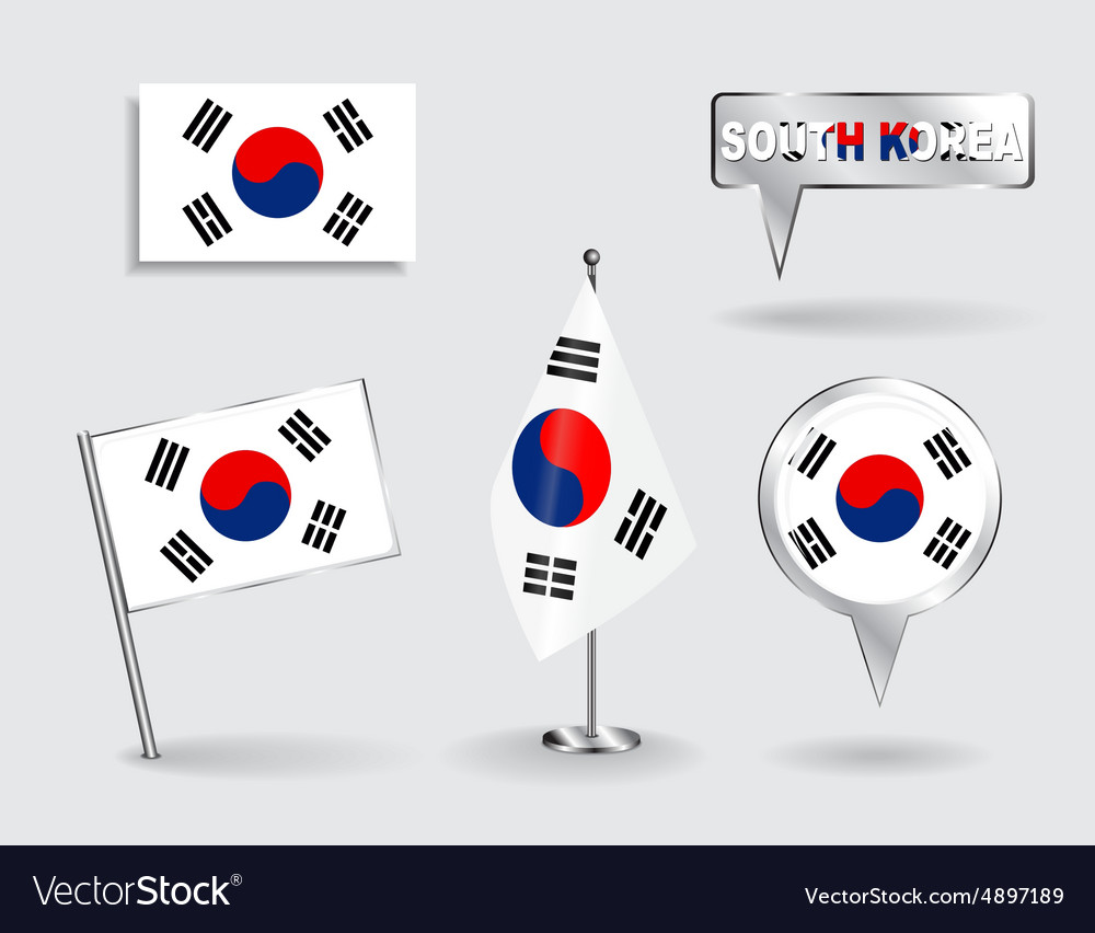 Set of south korean pin icon and map pointer vector