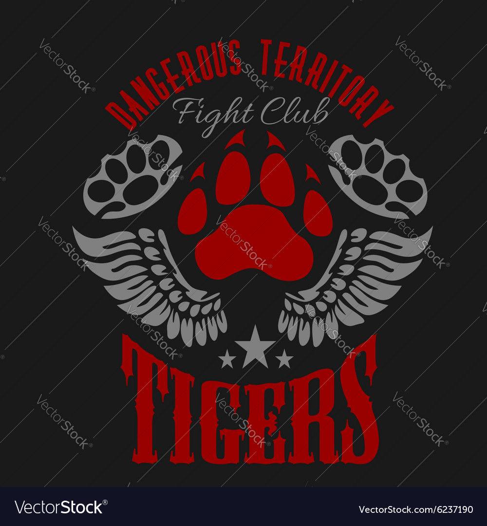 Fighting club emblem  tiger footprint and wings vector