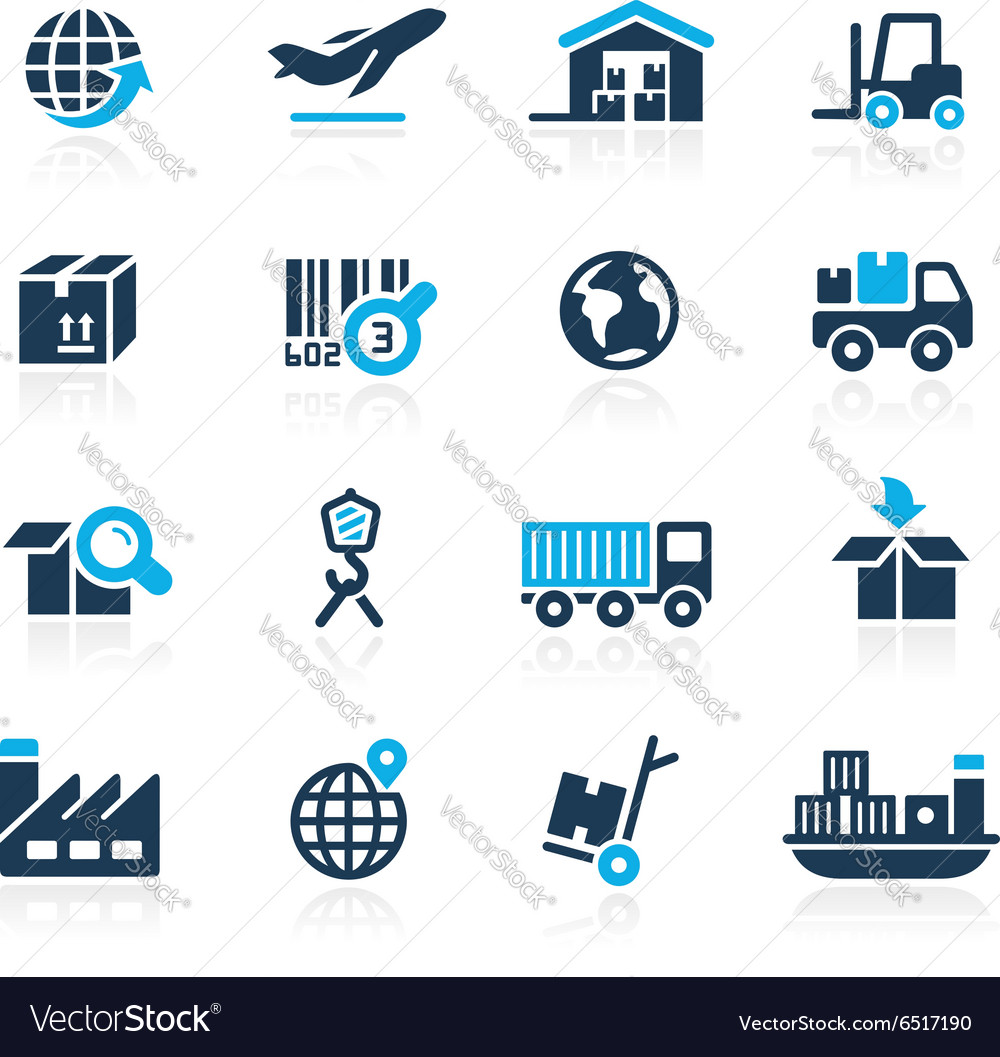 Industry and logistics icons azure vector