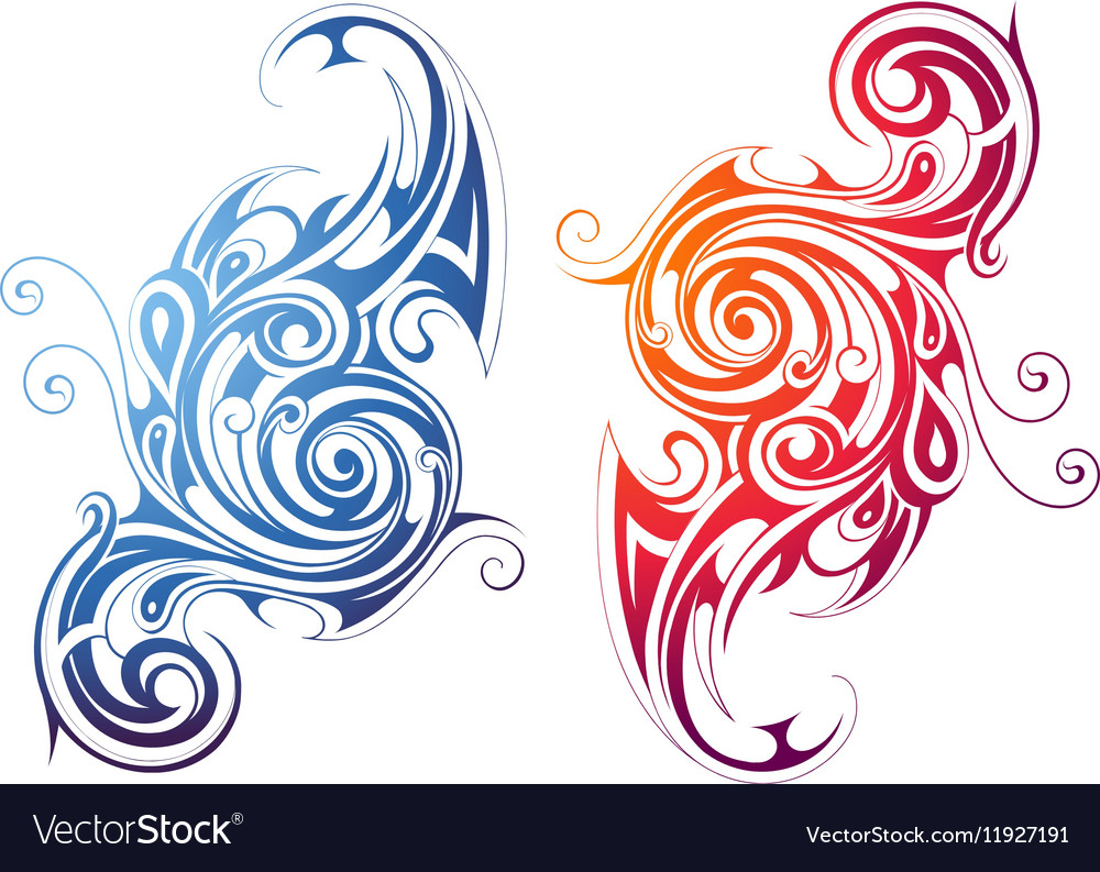 Fire and water themed swirls vector