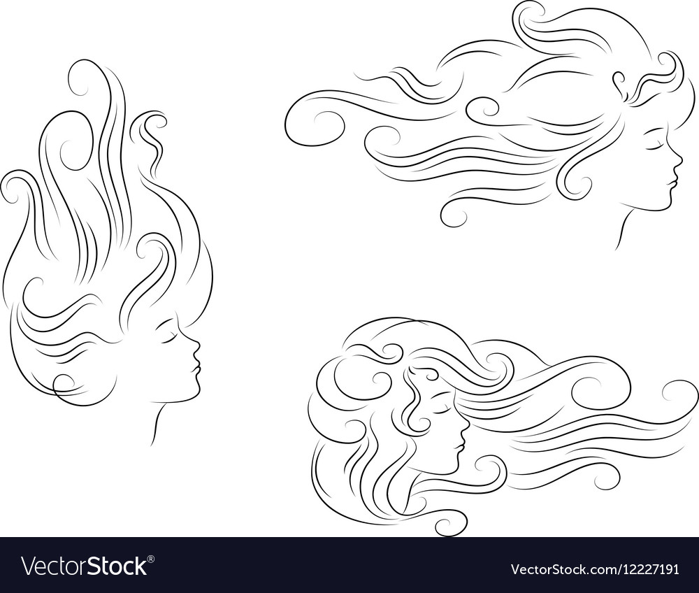 Set girl hair line silhouette vector