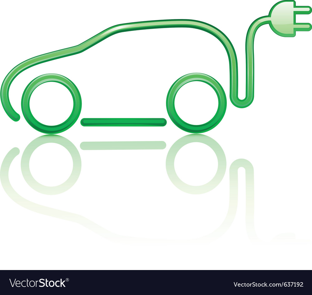 Electric powered car symbol vector