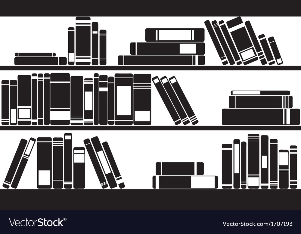 Books on shelves vector