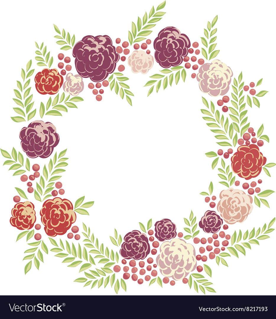 Floral ring frame vector