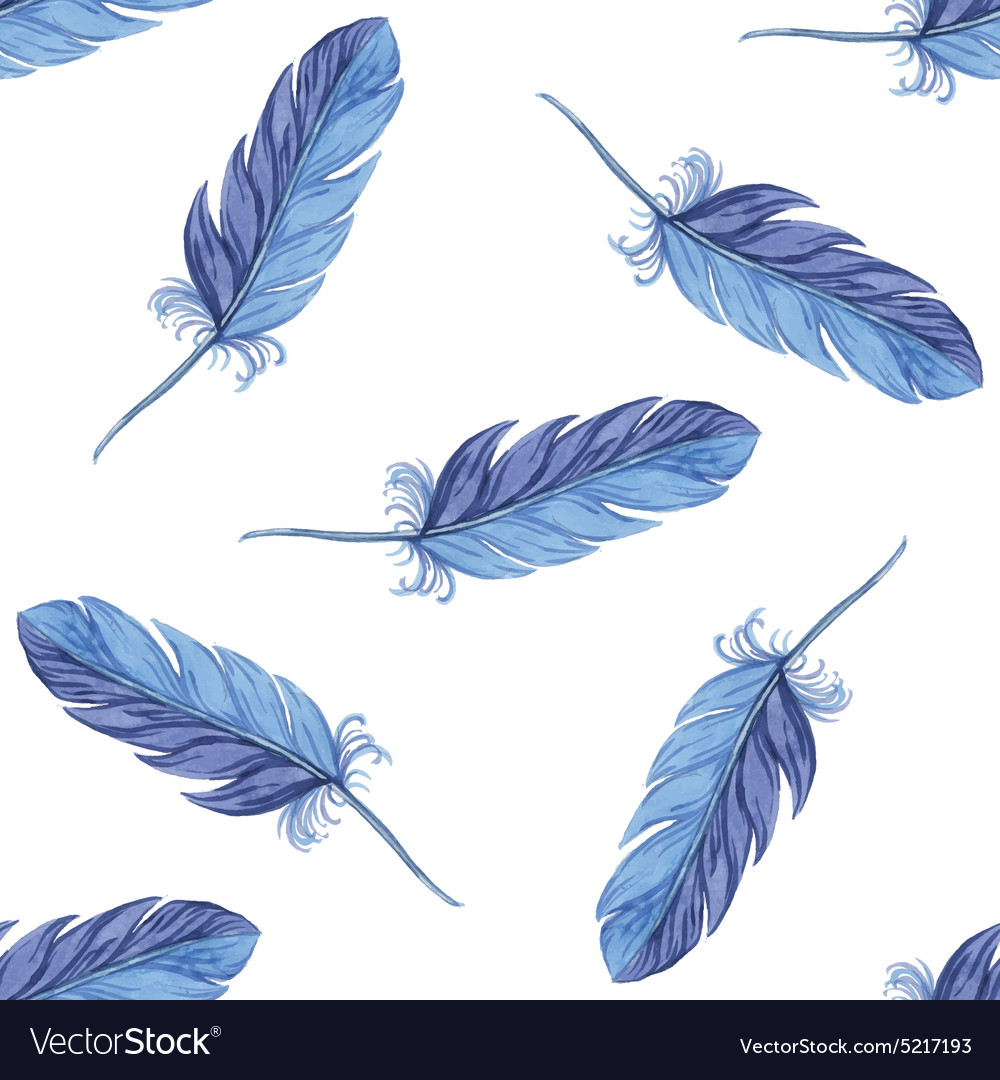 Watercolor seamless pattern feathers vector
