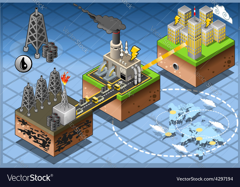 Isometric infographic petroleum energy harvesting vector