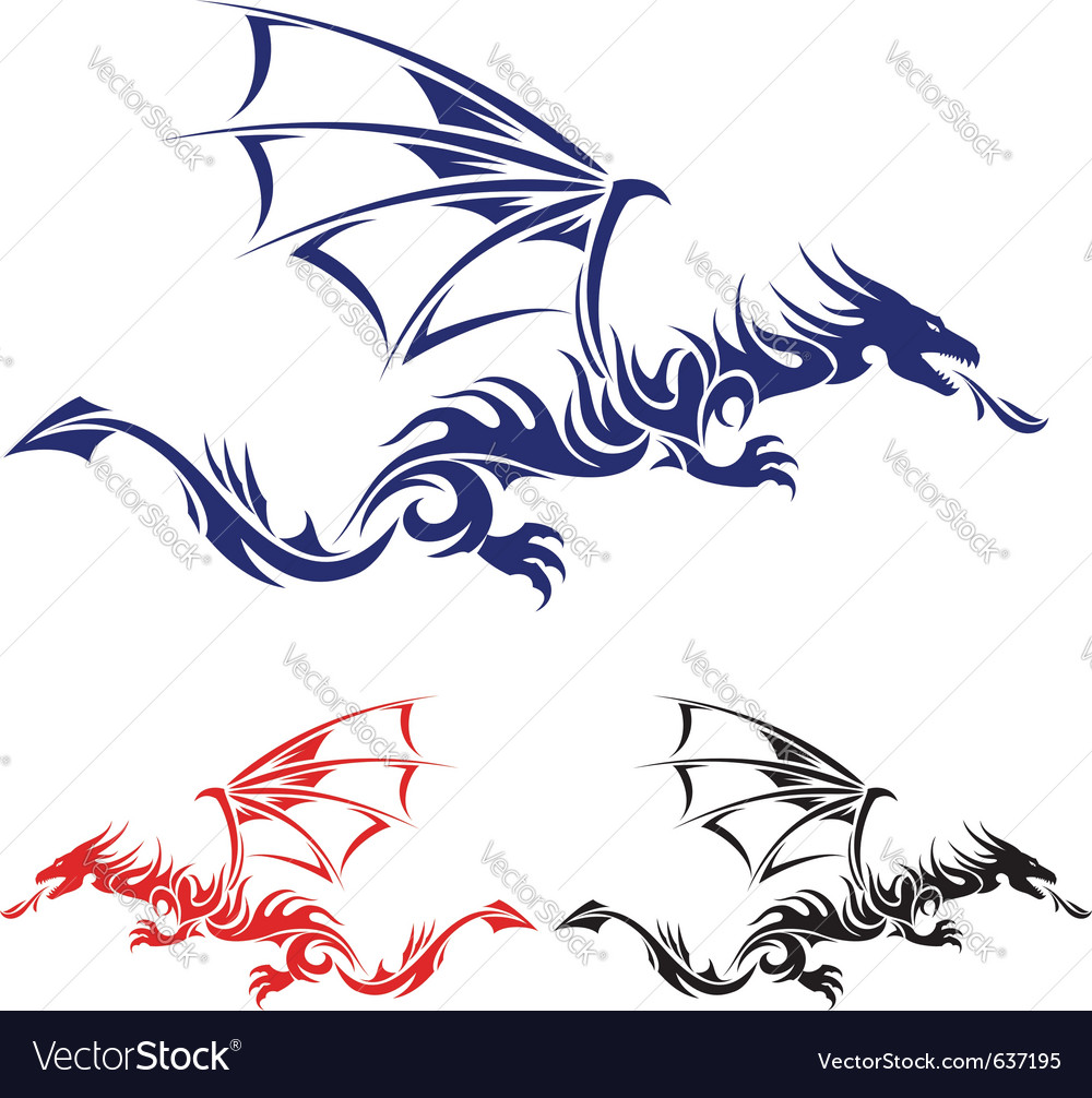 Flying drag blue red and black asian tattoo vector