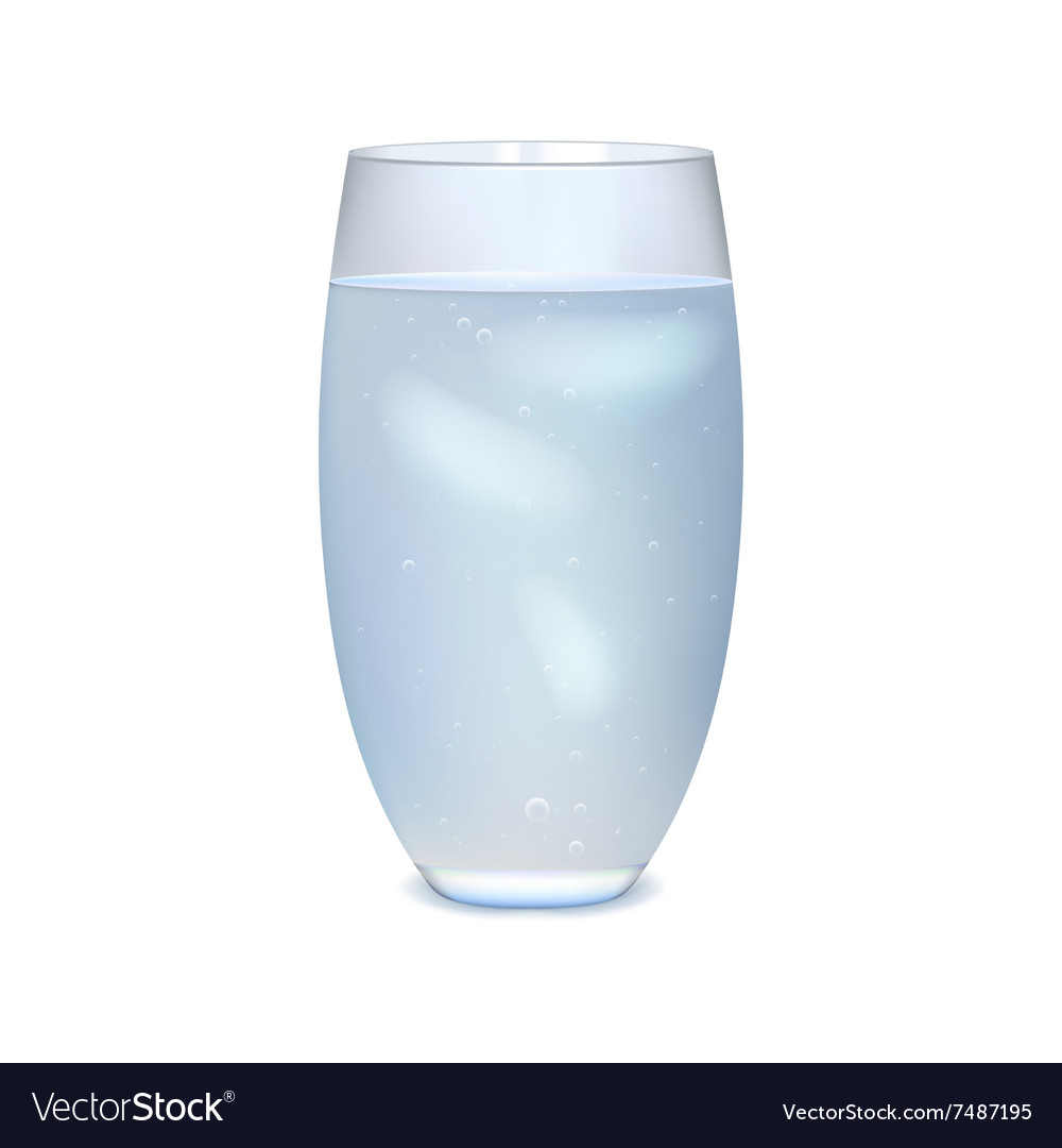 Glass of iced water vector