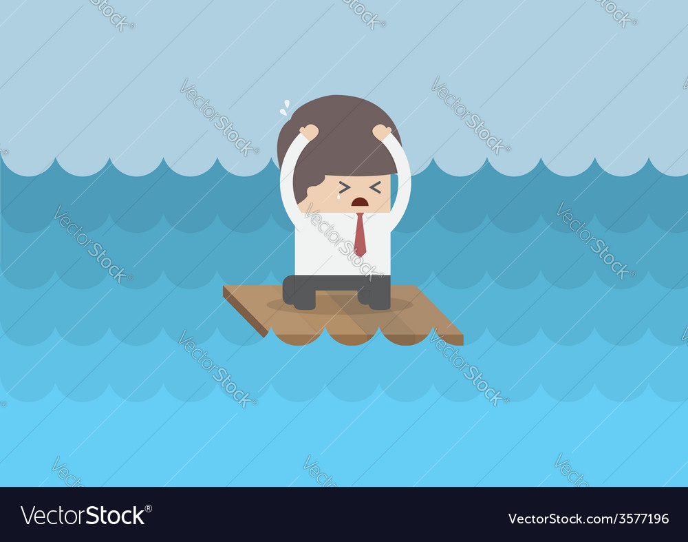 Businessman on a raft in the middle of the sea vector