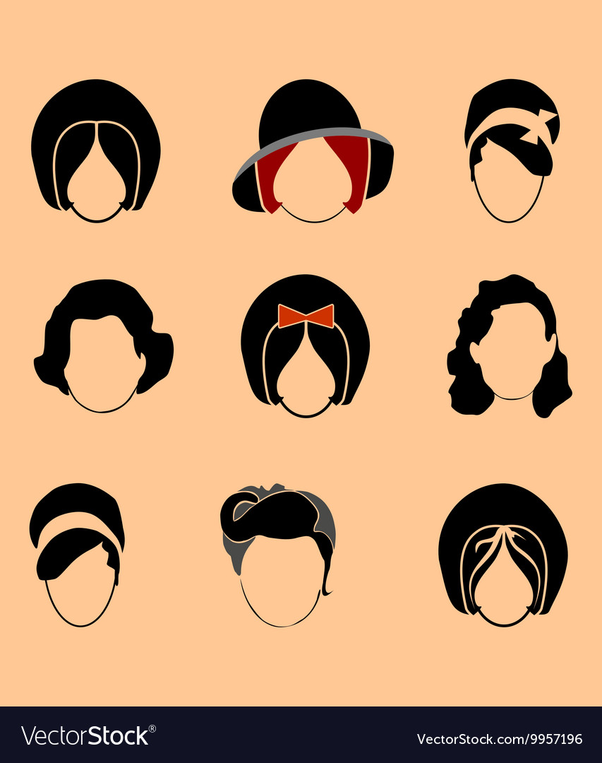 Set woman hair style silhouettes vector