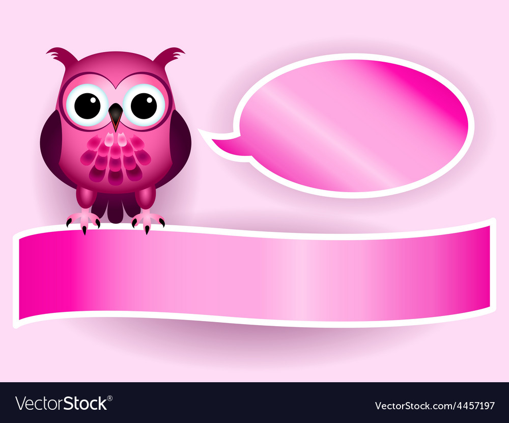 Owl making baby girl announcement vector