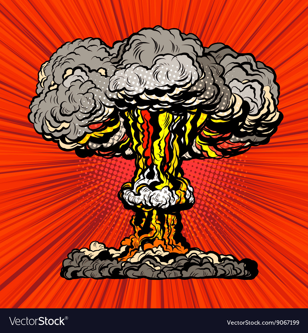 Nuclear explosion radioactive mushroom pop art vector