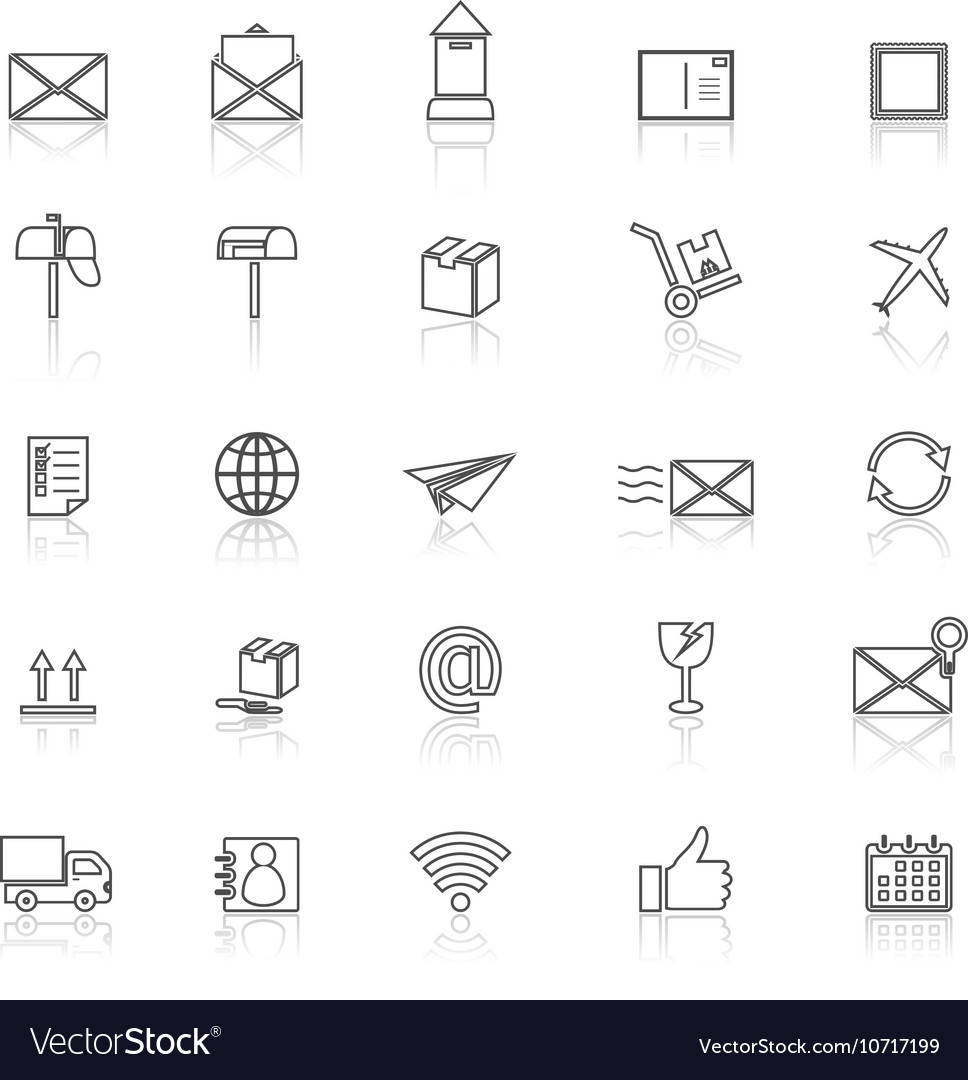 Post line icons with reflect on white background vector