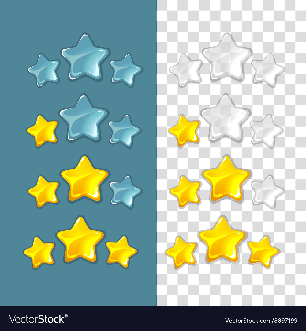 Ranking stars game elements in cartoon vector