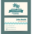 Surfing card template vector image vector image