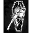 Decorative coffin in flash tattoo style vector image