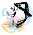 Drawing of Abstract ballerina dancing vector image