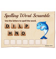 spelling word scrable game with word dolphin vector image