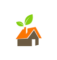 eco green leaf house nature environment logo vector image