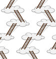 Stairway to clouds seamless pattern vector image