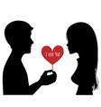 Black silhouette of young couple vector image vector image