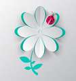 Paper Cut Flower with Ladybird Bug vector image vector image