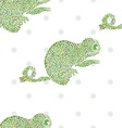 Chameleon seamless cartoon zoo set vector image