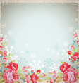 Vintage card with red roses and snowflakes vector image