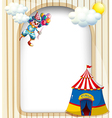 A template with a clown and a circus tent vector image