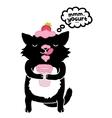 black cat with yogurt cute cartoon animal vector image