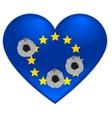 Bullet holes in heart of European Union flag vector image