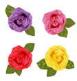 colourful four roses polygon low vector image