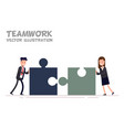 concept of teamwork businessman and businesswoman vector image