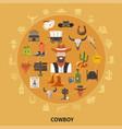 cowboy round composition vector image