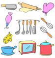 Equipment kitchen set colorful doodles vector image