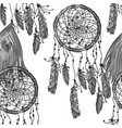 ethnic dreamcatcher monochrome seamless pattern vector image
