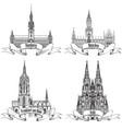 german city travel attraction set hamburg munich vector image