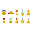 gold medal icon set flat style vector image