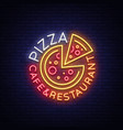 pizza logo in neon style neon sign emblem on vector image