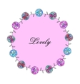 frame with pink blue flowers of watercolor vector image