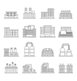 Industrial building icons set outline style vector image