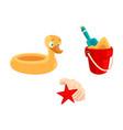 toy bucket shovel rubber duck ring sea shells vector image