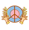 hippie emblem with hands and branches design vector image
